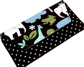 ZOO ANIMALS Zippered CLUTCH Pouch with Flap Dark Chocolate Brown Polka Dots Michael Miller Cotton Gray Mountain Purse-a-nalities