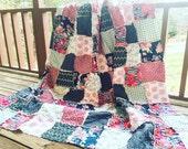 Queen Quilt, Rag, Skopelos, navy fuschia and gray, comfy cozy handmade bedding, Granny Chic in Modern fabrics shabby bedding, READY TO SHIP