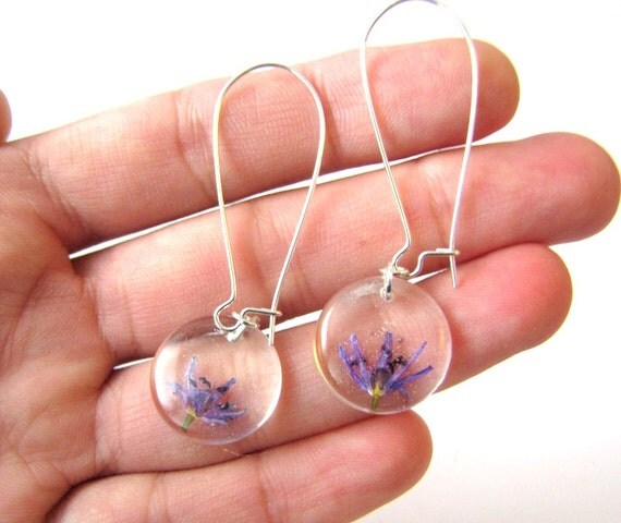 Real flower earrings tiny purple flovers earrings real by for Gemsprouts tiny plant jewelry