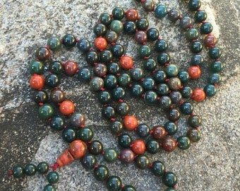 Indian Bloodstone 108 Bead Mala Necklace
