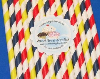 NEW - Basic Primary Striped Straws - DIY Flag Toppers, (Qty 24)  Straws, Striped Straws, Drinking Straws, Paper Straws
