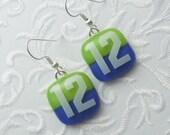 Seahawk Earrings - Fused Glass Earrings - Seattle Seahawks - 12th Man - Football Earrings - Football Jewelry - 12 - Blue And Green X1458
