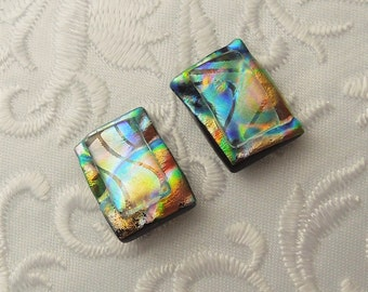Button Earrings - Dichroic Earrings - Stud Earrings - Post Earrings - Small Earrings - Dichroic Fused Glass Earrings - Earth Tone 1104