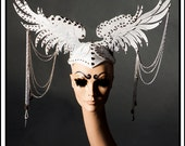 LAYAWAY TIFFANY Angelic Flight… Wings in White and Silver with Chains Headdress