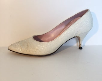 White Glitter Quality Craft Heels Size  6 1/2 C