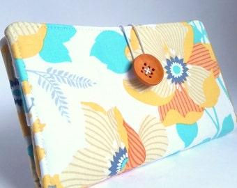 Big Floral Tampon and Pad Privacy Clutch Cinnamon Orange Aqua White - Spring Dahlia