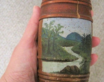 Antique Folk Art Painting Treenware Round Box 19thc
