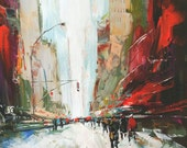 Original Abstract New York City Palette Knife Painting Size 32x32 inches