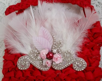 Divine Vintage Design,  'Berry Parfait' wedding-flower girl -Bag- Purse- MTM Dollcake--special-occassion-Rose-pearls-lace-girls-wear