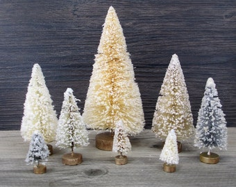 8 Vintage Style Bottle Brush Trees Mixed Natural Neutrals Mica Glitter Lot Bottlebrush Christmas Tree Tiny Forest Primitive Cream Gray