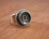 Typewriter Key Jewelry - Personalized Jewelry - Initial D Black Glass Top Typewriter Key Ring