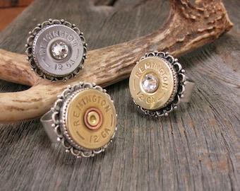 Bullet Jewelry - Shotgun Casing Jewelry -  Bullet Ring - Shotshell Ring - 12 Gauge Shotgun Casing Fancy Scallop Bezel Statement Ring
