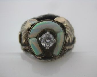 Size 8 1/4 Vintage Sterling Silver Horseshoe Opal & CZ Native American Ring S Ray