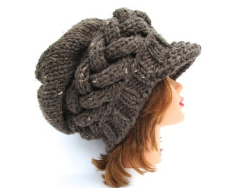 Barley Newsboy Cap - MADE TO ORDER - Slouchy Hat With Brim- Cable Knit Hat - Brimmed Beanie - Women's chunky hat - Knit Accessories