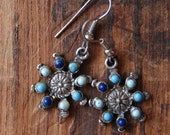 vintage turquoise starburst earrings-antique silver