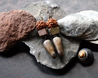 Beneath the Walnut Tree Earrings with Artisan Stoneware, & Rudraksha Seeds, on Hand formed Sterling Silver, 2.5 Inches from Top of Earwire