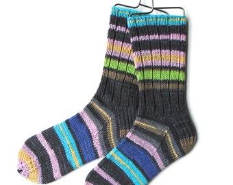 Extrafine Merino Wool Socks for Women, Girls, Handknit Socks, DK weight, striped socks, yellow gray pink blue gray socks, knitted socks