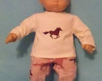 15 inch Doll Horse Flannel Pajamas with Feet