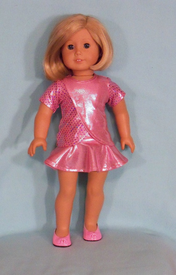 American Made 18 inch Doll  Pink Skater Skirt, Top and Shoes