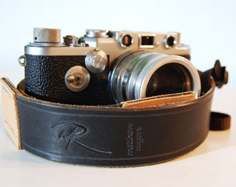 Camera Strap Standard Grooved Black Leather Custom Monogram Engraving for Photographers Ideal for DSLR Canon Nikon and all Cameras