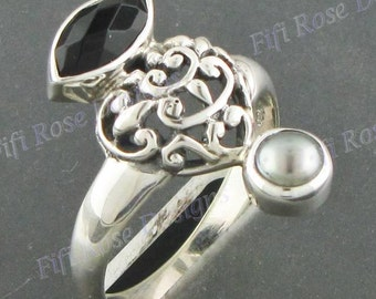Design Onyx Freshwater Pearl 925 Sterling Silver Sz 9 Ring