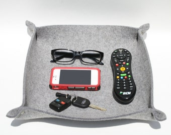 Extra Large TV Remote Control Holder Caddy Organizer Catchall Tray in 5mm Merino Wool Felt Home Organization and Storage