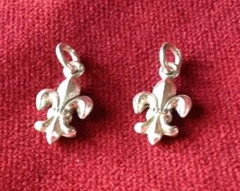 2 fleur de lys silver pendant