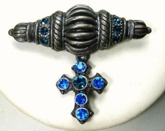 Blue Rhinestone Christian Cross Pin, Bar Brooch in Pewtertone w Dangling Cross, 1980s Religious Lapel Jewelry For Men