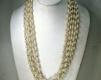 SALE, 1960s 6 Strand Pearls and Gold Bead Necklace, Lightweight Resin Beads, 24 Inches, Wear Loose or Twist Up