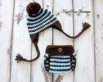 Newborn Baby Boy Striped Ear Flap Hat and Diaper Cover Set Brown and Blue