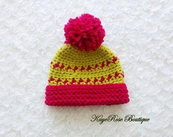 Christmas Newborn Baby Girl Crochet Pom Pom Hat Pink and Green