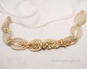 Gold Wedding Dress Sash, Vintage Lace Bridal Gown Belt Gold Metal Leaf and Beaded Dress Sash Flower Dress Belt with Ribbon Tie