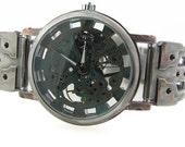 Men's Wind Up Mechanical Watch, Blue Dial Hand Made -metal watch-bracelet watch-jewelry for men-cuff watch-unisex watch-ladies watch-watch