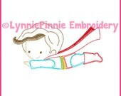 Flying Superhero Boy Cutie Colorwork Sketch Embroidery Design 4x4 5x7 6x10  Machine Embroidery Design