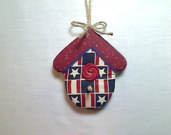Americana Birdhouse Ornament | Fourth of July | Christmas in July | Patriotic Decor | Tree Ornament | Independence Day | Handmade USA | #3