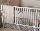 Neutral Crib Bedding Set Taupe Cream and White