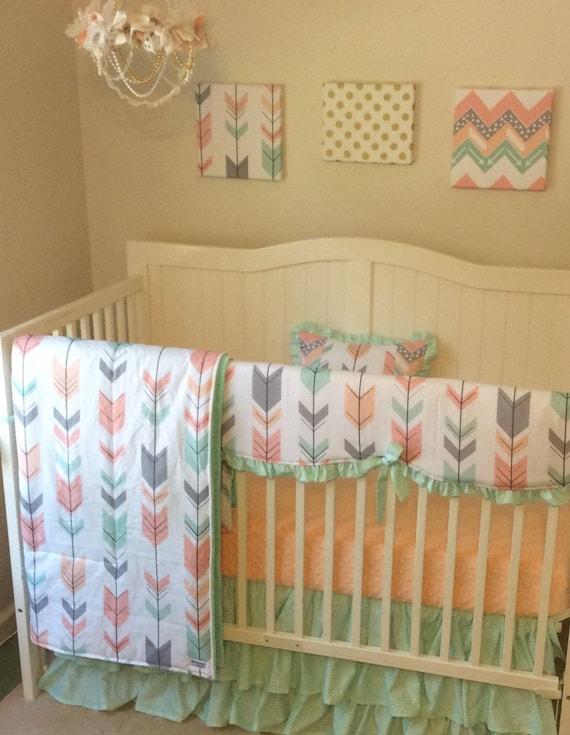 deposit peach gray and mint arrows ruffled crib bedding set. Black Bedroom Furniture Sets. Home Design Ideas