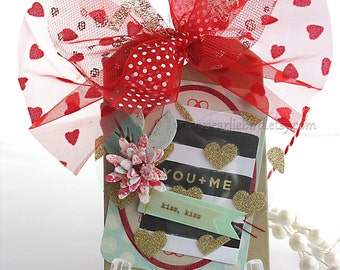 You and Me XL Deluxe Art Gift Tag~kiss kiss~cream~red~pink~mint green~Anniversary~Wedding~hang tags~gift bag SWAG~pretty packaging