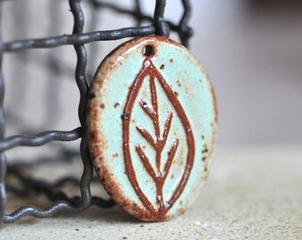 Leaf Ceramic Pendant in Pistachio Mint glaze with Sepia tones, stoneware clay pendant, focal bead