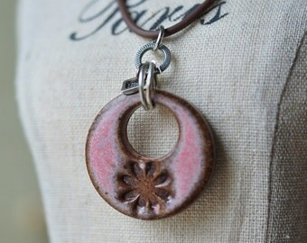 Ceramic pendant in Cactus Flower Pink glaze, pink ceramic jewelry in stoneware clay, pink ceramic pendant, handcarved and pretty in pink