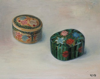 Original oil painting - Indian trinket boxes