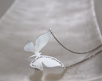 Modern Butterfly Necklace in Brushed Sterling Silver with Custom Words