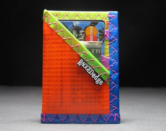 Rad Neon Minimalist Wallet - Neon Wallet - Sailcloth Card Sleeve ID - Neon Orange