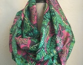 SALE Infinity Scarf - Pink and Green Cotton Voile Fabric - Modern Fashion Accessory - Ladies Teens Tweens