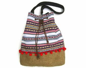 SALE Bucket Bag. Boho abric Bag. Hobo Bag Bohemian Style. Drawstring Bag. Crossbody Bag. Gift for Her. Womens Gift. White Woven Ethnic Bag.