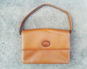 Vintage handbag 60s goldenrod leather