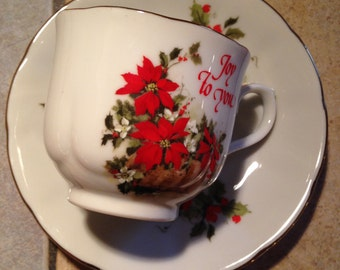 Christmas China Cup and Saucer Set by Robert Fobear