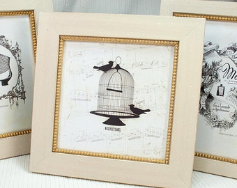 8x8 or 7x7 inch Warm White Frame with Inner Gold Boule Edge/Wedding/Bridesmaids/Office Desktop Deluxe White Square Instagram Antique Style