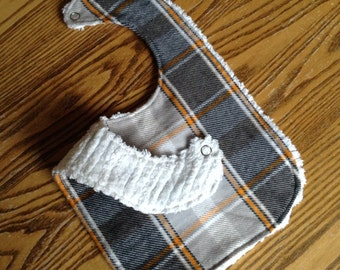 Chenille Back Flannel Baby Bib, Snap Closure, Gray and Orange Plaid