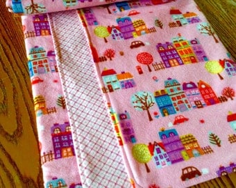 40 inch Square Double Layer Flannel Swaddler Blanket, Girl, Pink Village, ready to ship